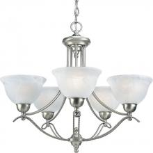 Progress P4275-09EBWB - Five Light Brushed Nickel Alabaster Glass Up Chandelier
