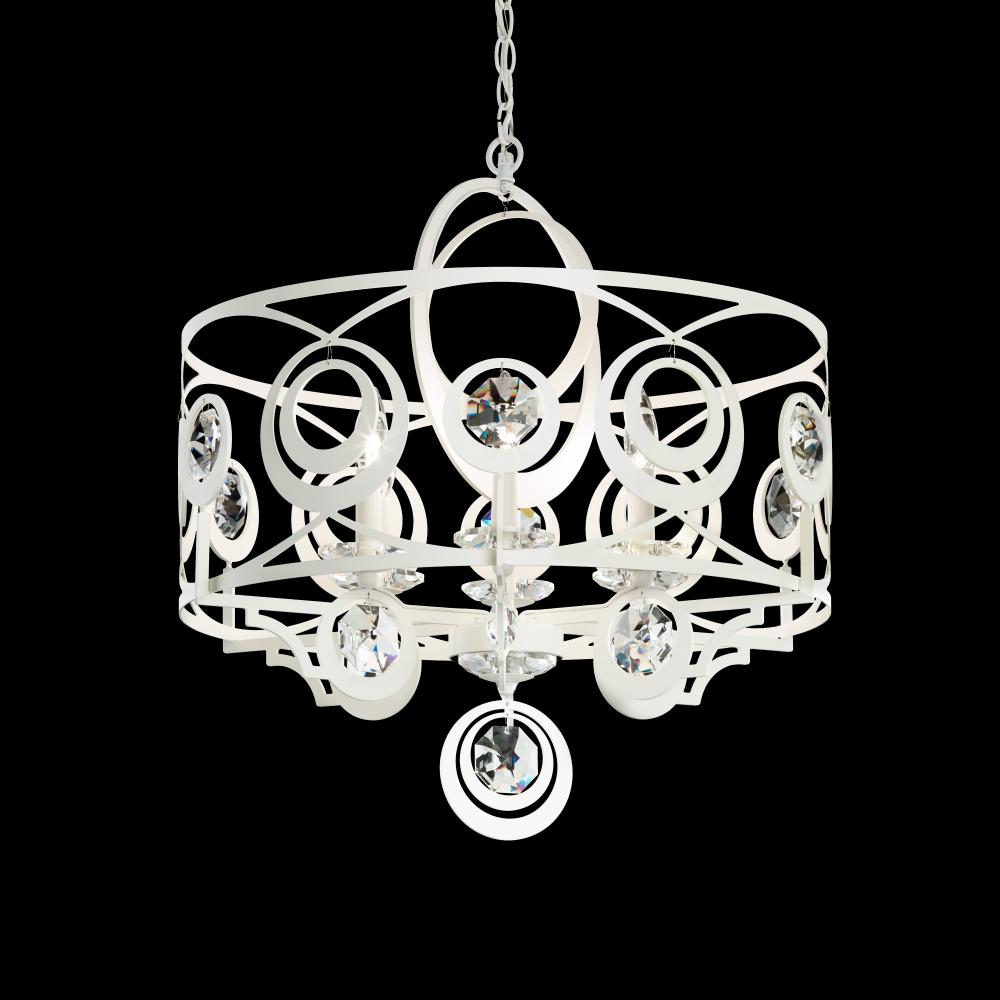 Gwynn 6 Light 110V Chandelier In Antique Silver With Clear Heritage Crystal