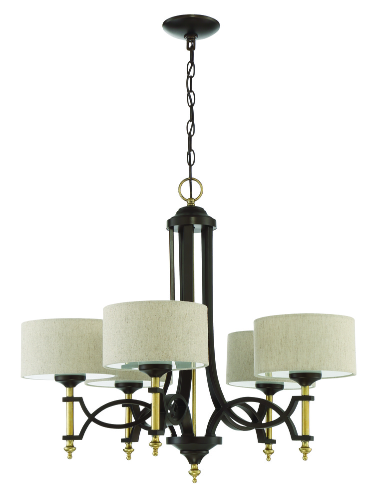 Colonial 5 Light Chandelier In Antique Gold And Bronze