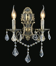 Crystal World 2022W16AB-2 - 2 Light Wall Sconce with Antique Brass finish