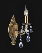 Crystal World 2050W5GB-1 - 1 Light French Gold Wall Light from our Brass collection