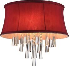 Crystal World 5532C16C (Rose Red) - 4 Light Chrome Drum Shade Flush Mount from our Audrey collection