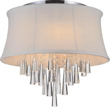 Crystal World 5532C16C (White) - 4 Light Chrome Drum Shade Flush Mount from our Audrey collection