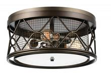 Crystal World 9914C16-3-204 - 3 Light Cage Flush Mount with Light Brown finish