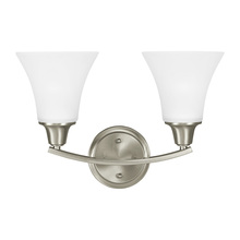 Sea Gull 4413202BLE-962 - Fluorescent Metcalf Two Light Wall / Bath Vanity in Brushed Nickel with Satin Etched Glass