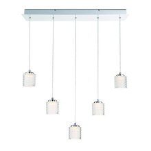 Eurofase Online 31787-017 - Ancona Opal Ribbed 5 LED Linear Chandelier, Chrome Finish, 28 Inches Long - Model 31787-017