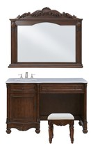 Elegant VF-1046S - Vanity Sink 52 in. x 21.5 in. x 35 in. and Mirror 50 in. x 2.5 in. x 40 in. and Chair 16.25 in. x 13