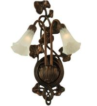 "Meyda Tiffany 11239 - 11""W White Pond Lily 2 LT Wall Sconce"